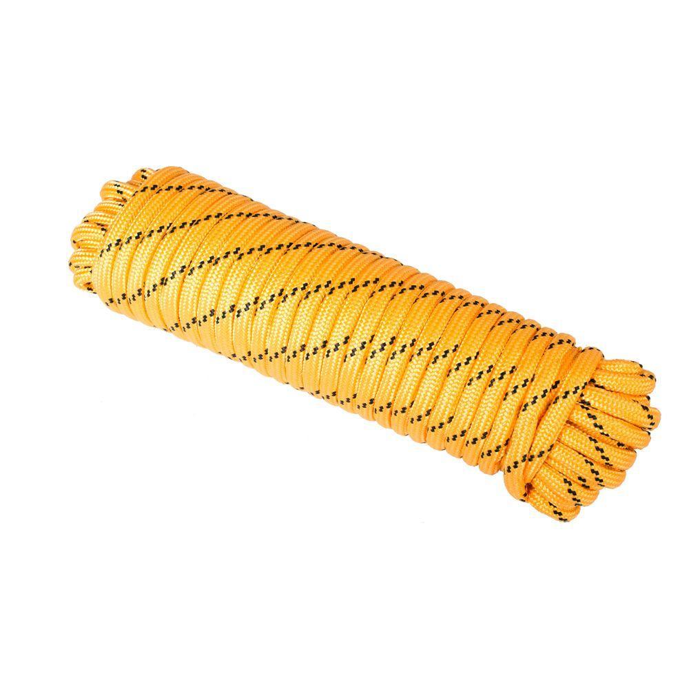 1/2 in. x 100 ft. Heavy Duty Diamond Braid Polypropylene Rope - Yellow