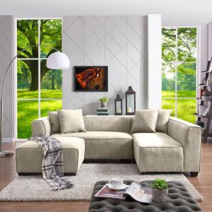 Swell Handy Living Phoenix Sectional Sofa With Ottoman In Light Pabps2019 Chair Design Images Pabps2019Com