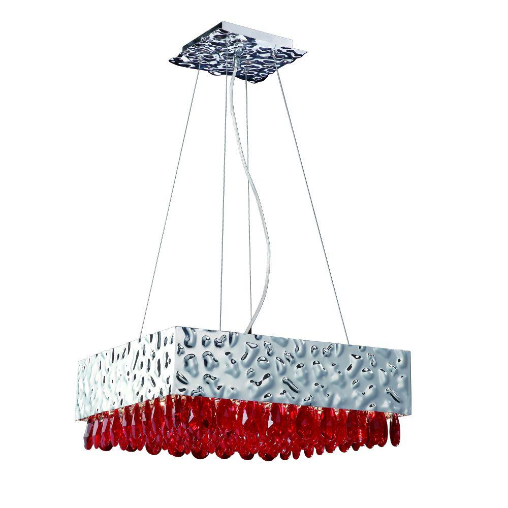 Eurofase Martellato Collection 12-Light Hanging Chrome/Red Pendant-DISCONTINUED