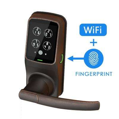 Secure PRO Venetian Bronze Smart Lock Latch with 3D Fingerprint and WiFi (works with Alexa and Google Home)