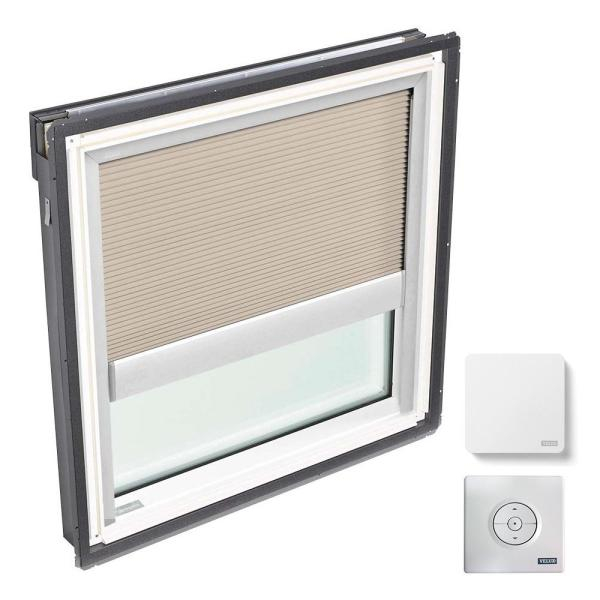 44.25 in. x 45.75 in. Fixed Deck Mount Skylight, Laminated LowE3 Glass, Classic Sand Solar Powered Light Filtering Blind