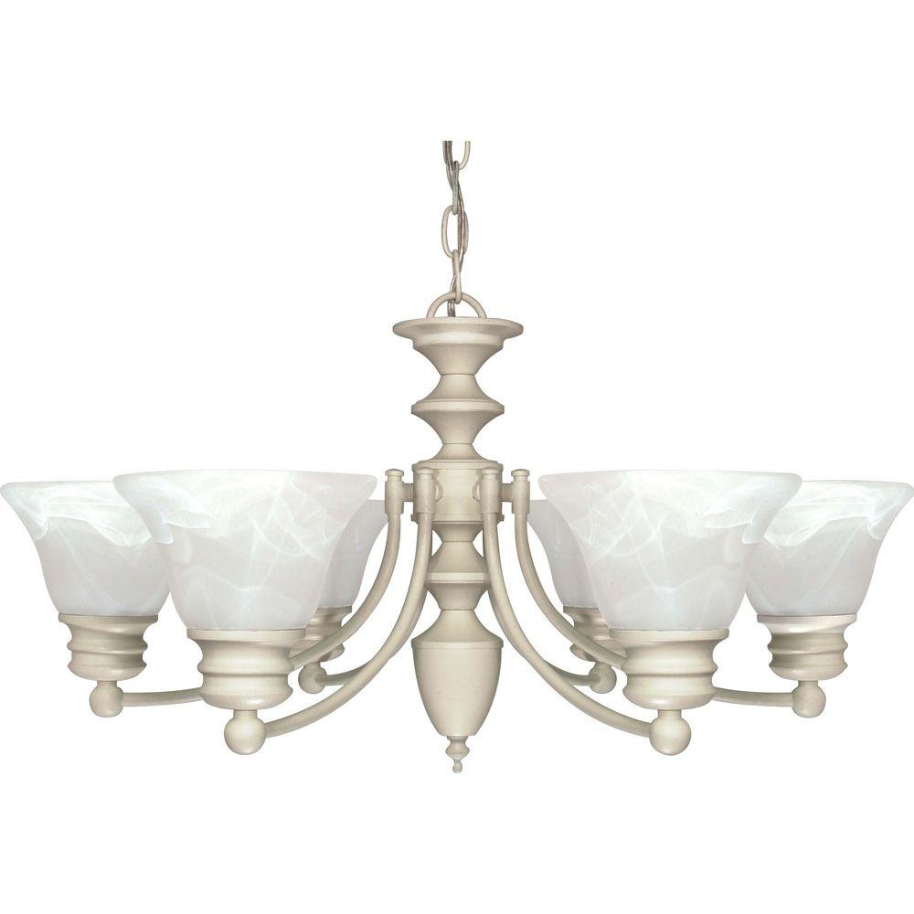 Glomar 6-Light Textured White Chandelier with Alabaster Glass Bell Shades