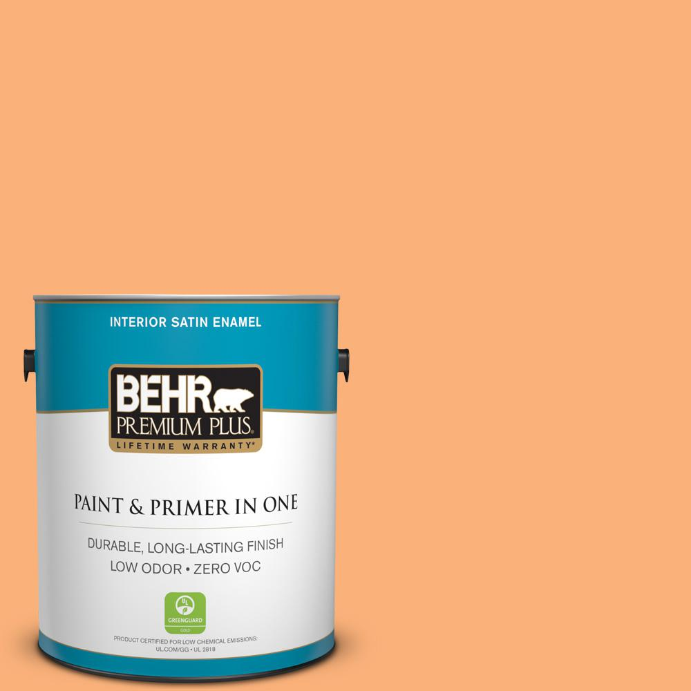 1-gal. #P220-5 Fuzzy Peach Satin Enamel Interior Paint