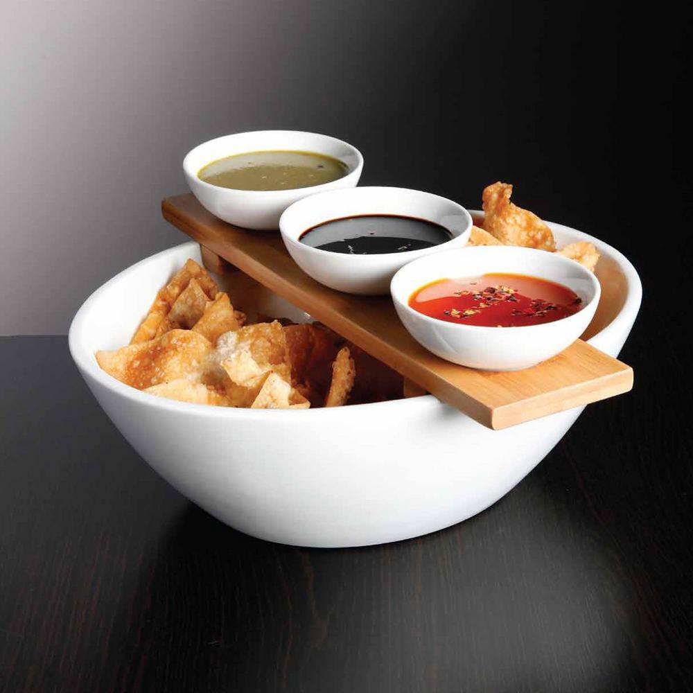 Gracious Dining 3-Piece Tidbit Serving Set with Bamboo Tray