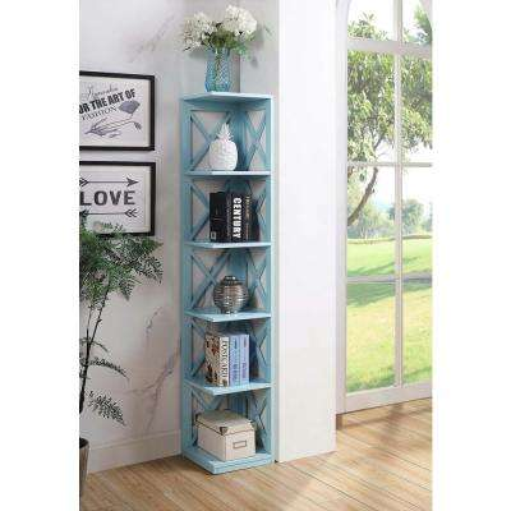 Oxford Sea Foam 5-Tier Corner Bookcase