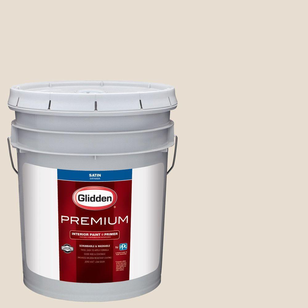 Glidden Premium 5 Gal Hdgwn29 Cappuccino White Satin Interior Paint With Primer Hdgwn29p 05san