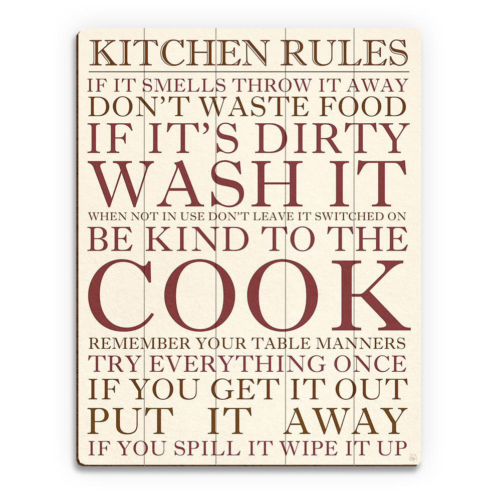 Creative gallery 11 in x 14 in kitchen rules planked wood wall art print