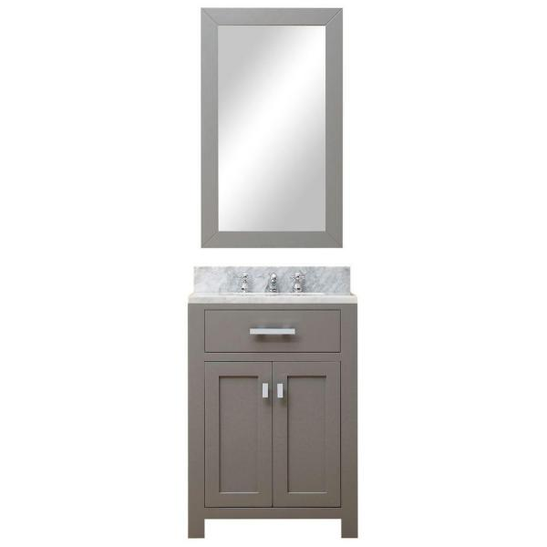 24 in. W x 21 in. D Vanity in Cashmere Grey with Marble Vanity Top in Carrara White and Mirror