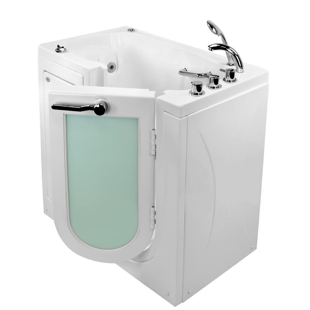 Ella Mobile 45 in. Walk-In Whirlpool and Air Bath Bathtub in White ...
