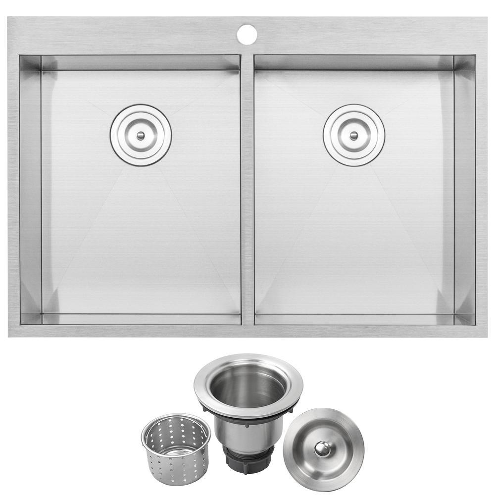 Arlo Zero Radius Drop-in 18-Gauge Stainless Steel 33 in. Double Bowl Kitchen Sink with Basket Strainer