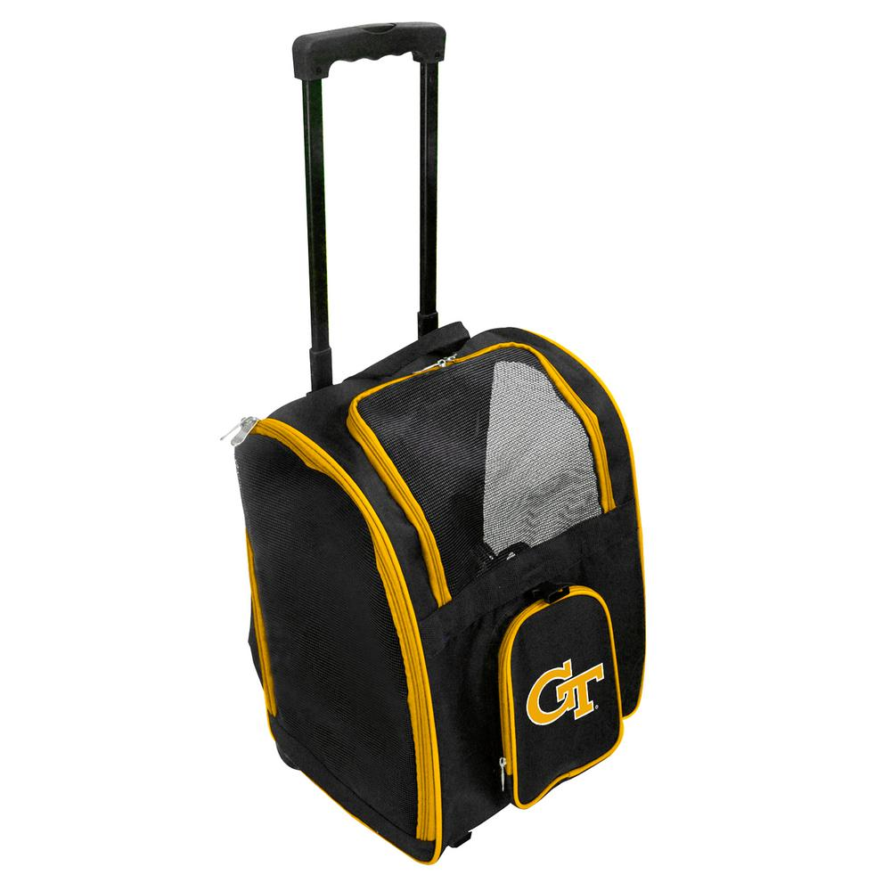 16.5 Black Denco NCAA Georgia Tech Yellow Jackets Premium Wheeled Pet Carrierpremium Wheeled Pet Carrier