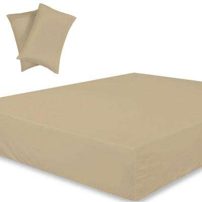 Wrinkle Resistant Extra Deep Pockets 3-Piece Sand 300TC Organic Cotton King Fitted Sheet Set