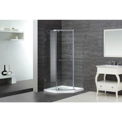 Aston Sen973 38 In X 38 In X 77 1 2 In Semi Frameless Neo Angle Shower Enclosure In Chrome With Base Sen973 Tr 38 10 The Home Depot