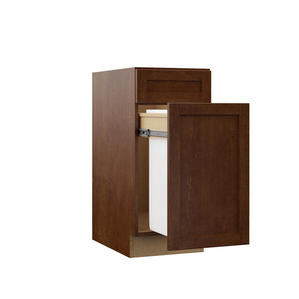 Hampton Bay Designer Series Soleste Assembled 15x34 5x23 75 In Pull Out Trash Can Base Kitchen Cabinet In Spice Bws15 Shsp The Home Depot