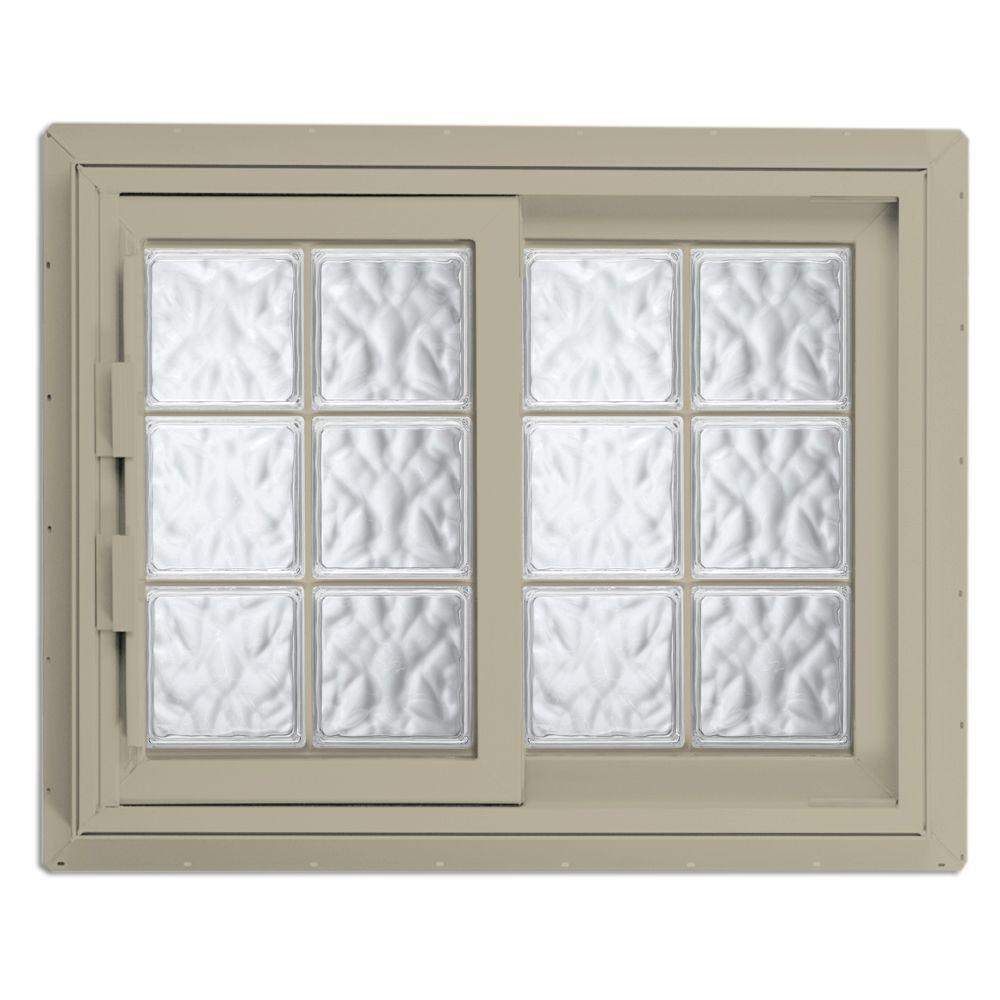 Hy-Lite 52.75 in. x 46.125 in. Acrylic Block Right-Hand Sliding Vinyl Window - Tan