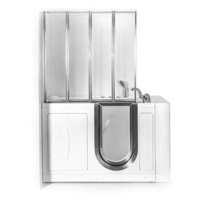 52 in. Walk-In Whirlpool and Air Bath Bathtub in White with Right Door, Thermostatic Faucet, Dual Drain, Shower Screen