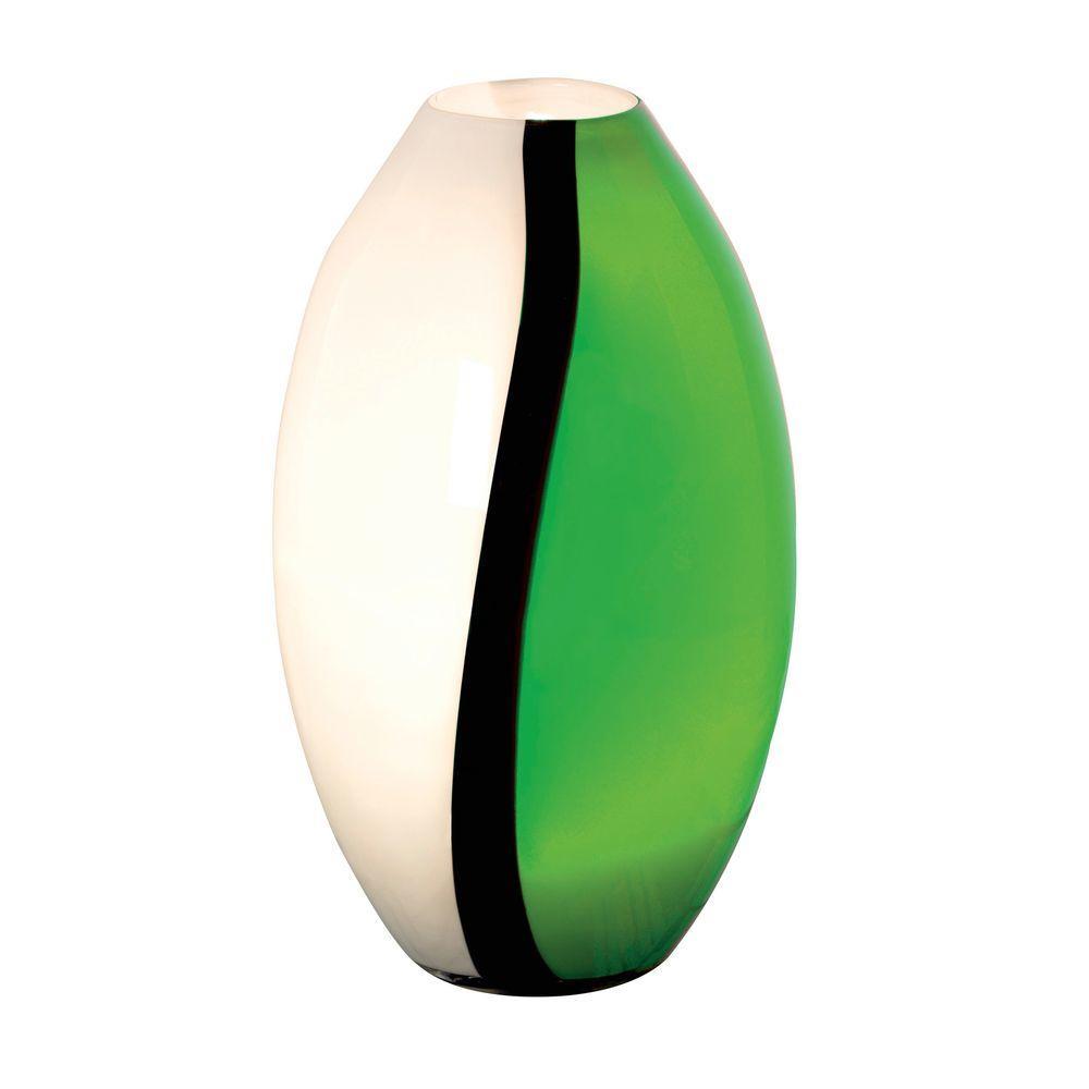 Eglo Empori 14.2 in. 1-Light Green/Black/White Glass Table Lamp