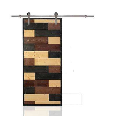 36 in. x 84 in. Mosaic Wood Lacquer Stained Solid Wood Interior Barn Door with Stainless Steel Hardware Kit