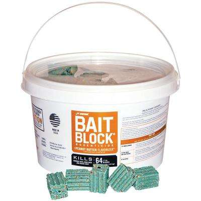 Bait Block Peanut Butter Flavor Anticoagulant Rodenticide for Mice and Rats (Pail of 64)