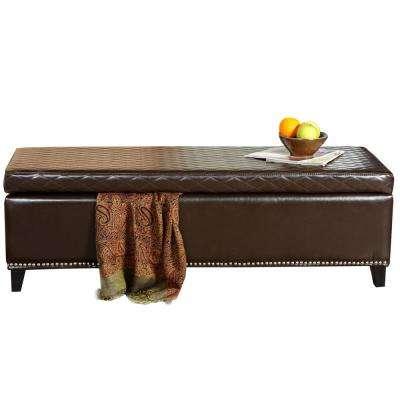 Plymouth Quilted Brown Bonded Leather Storage Bench