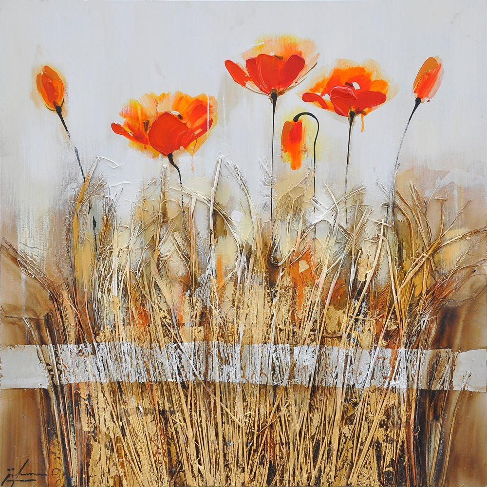 Yosemite Home Decor 32 in. x 32 in. Poppies in the Field Orange Red I Hand Painted Contemporary Artwork-DISCONTINUED