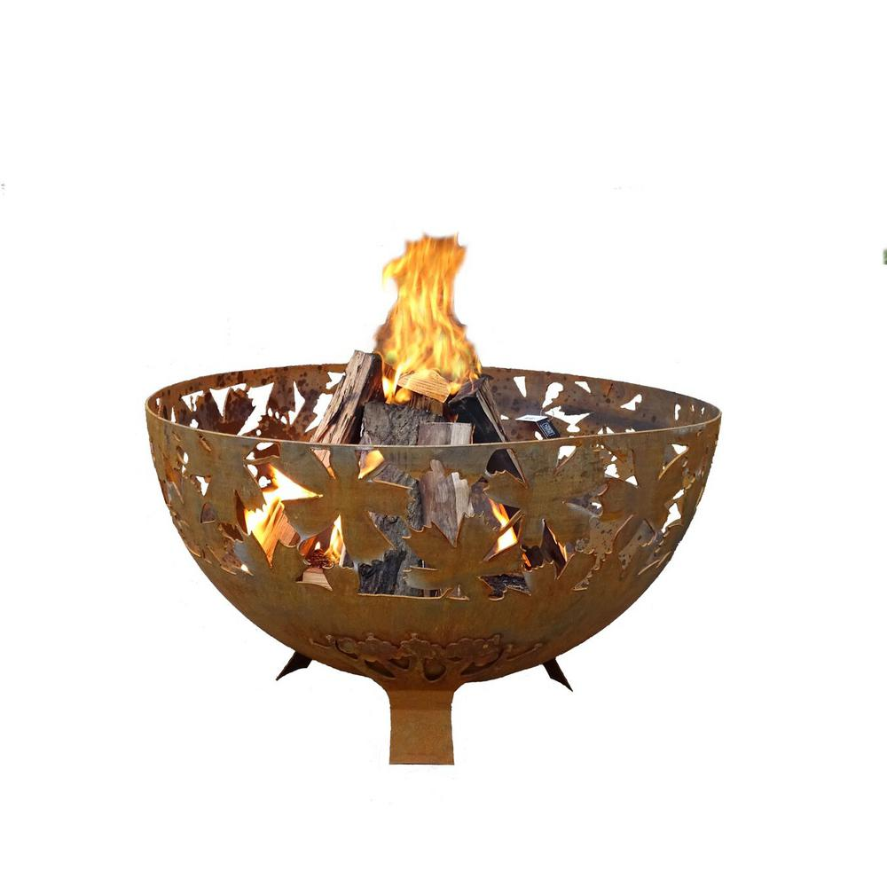 Leaf 32 in. x 19 in. Round Steel Wood Burning Fire