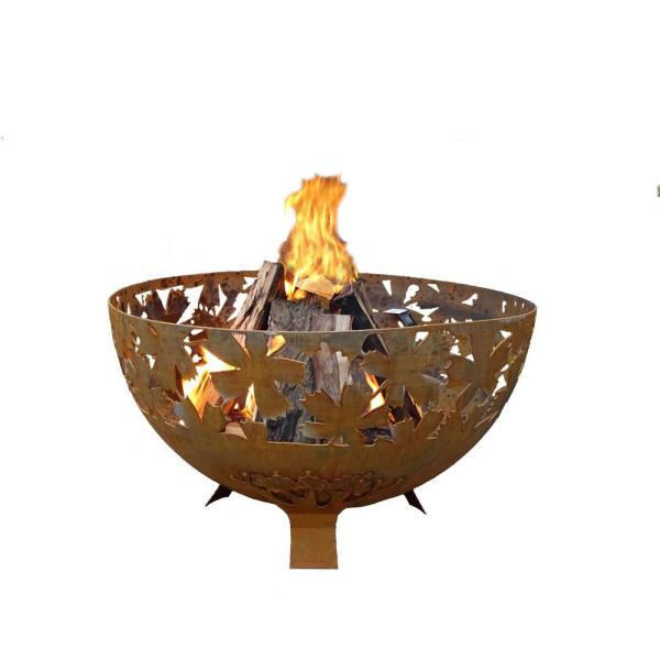 Leaf 32 in. x 19 in. Round Steel Wood Burning Fire Pit in Rust