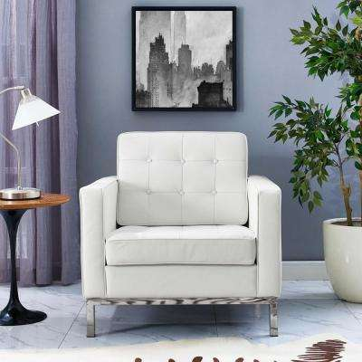 Loft White Leather Armchair