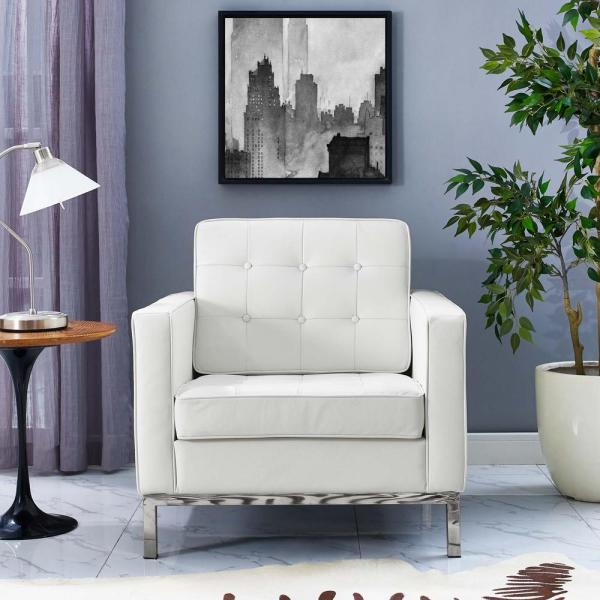 MODWAY Loft White Leather Armchair EEI-2781-WHI - The Home Depot