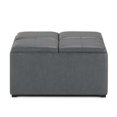 Avalon 35 in. Contemporary Square Storage Ottoman in Stone Grey Faux Leather