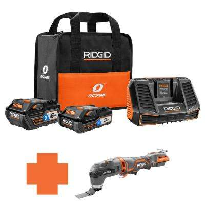 18-Volt OCTANE Battery and Charger Kit w/(1) 3.0 Ah, (1) 6.0 Ah Battery and Charger w/Bonus Brushless JobMax Multi-Tool