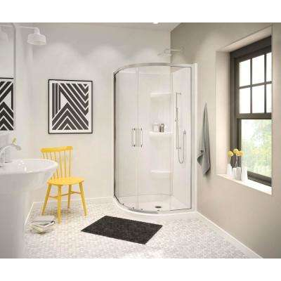 Radia 40 in. x 40 in. x 71-1/2 in. Frameless Neo-Round Sliding Shower Door with Clear Glass in Chrome