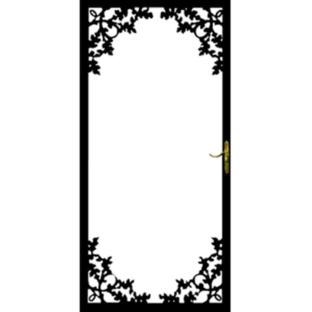 36 in. x 80 in. 334 Series Black Charlotte Security Door