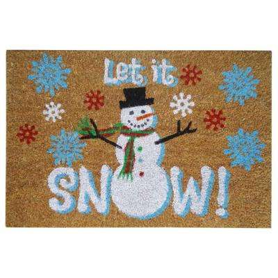 Let it Snow Blue 16 in. x 24 in. SuperScraper Vinyl/Coir Door Mat