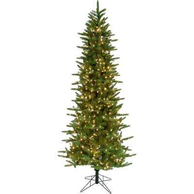 7.5 ft. Carmel Pine Slim Artificial Christmas Tree with Clear LED String Lighting