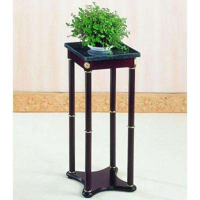 Milpitas Merlot Finish Marble Top Indoor Plant Stand