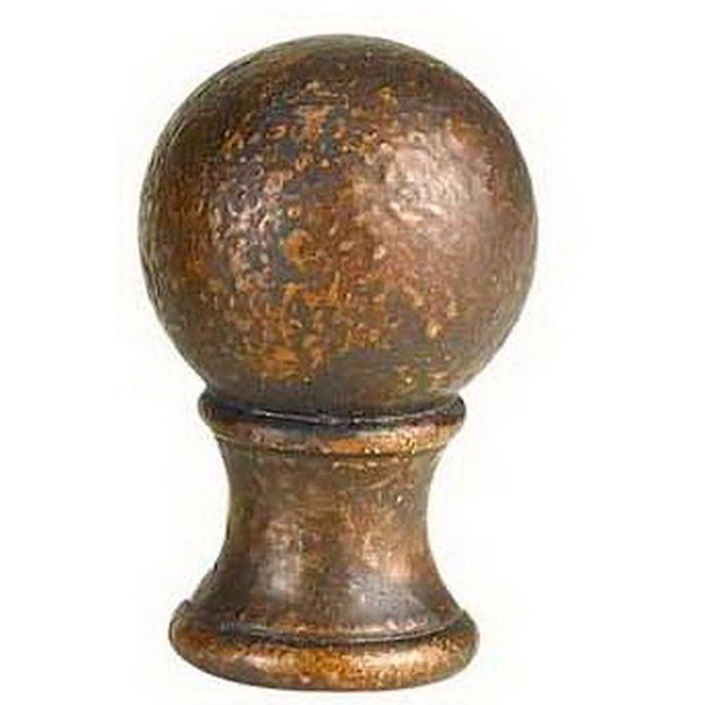 CAL Lighting 1.38 in. Copper Bronze Metal Cast Ball Lamp Finial-DISCONTINUED