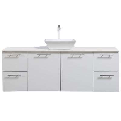 Luxury 60 In W X 21 D Vanity White With Wood