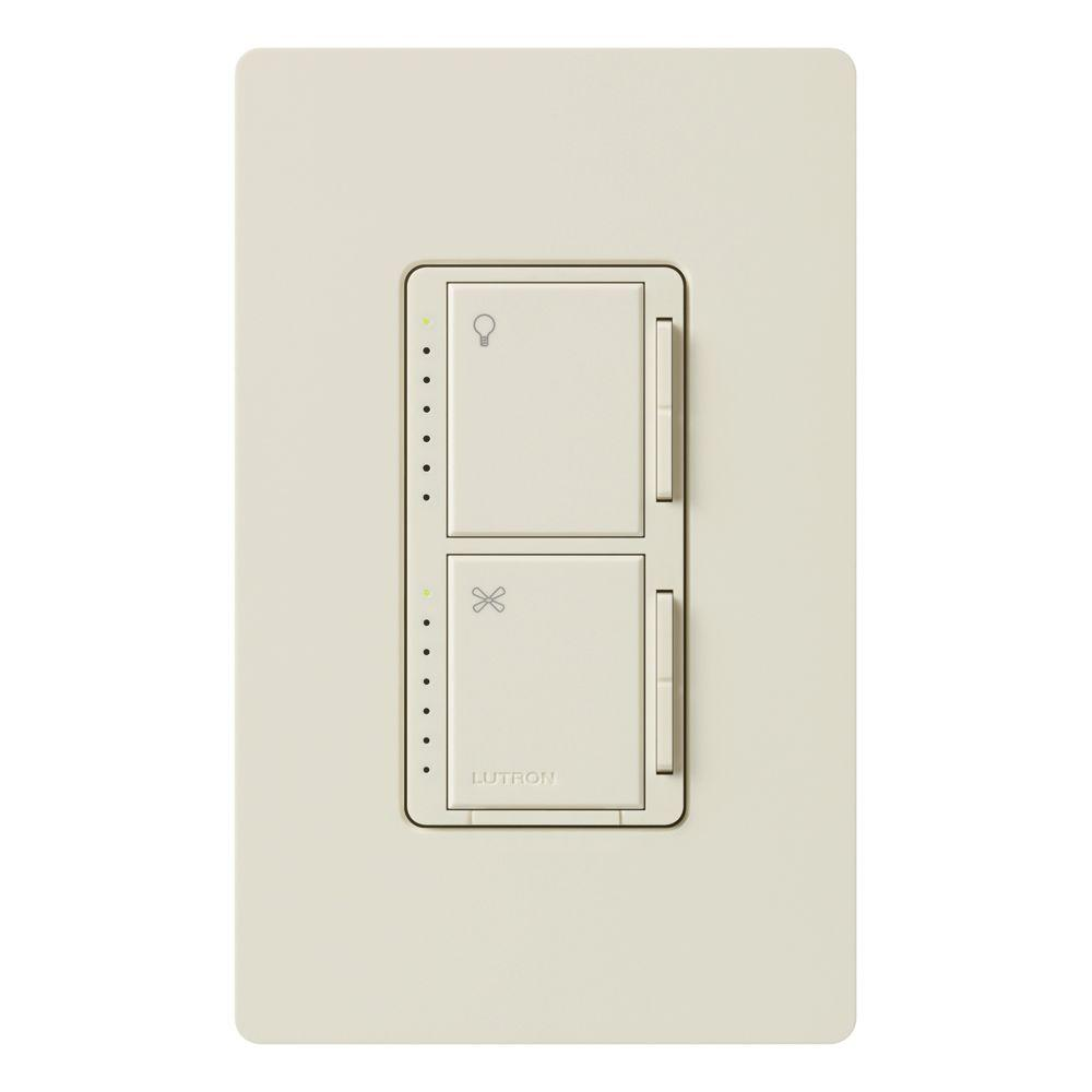 Lutron Maestro Fan Control and Light Dimmer for Incandescent and Halogen, Single-Pole, Light Almond