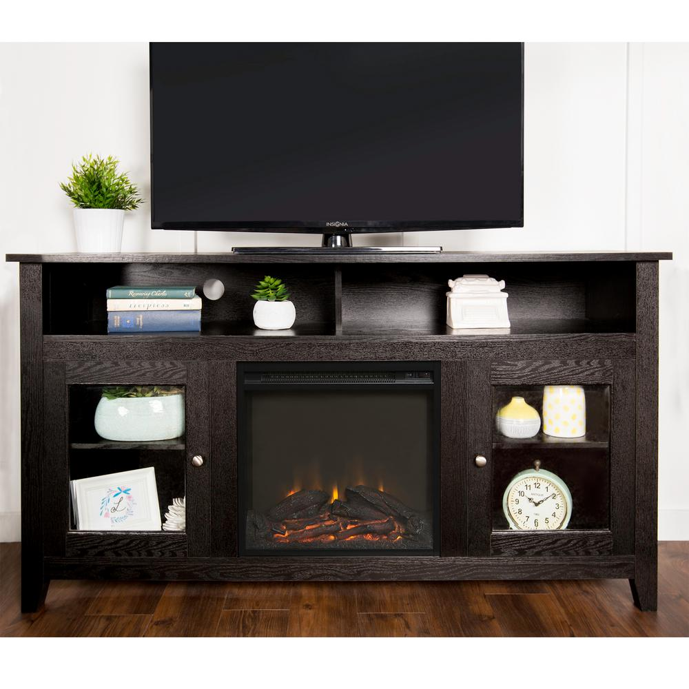 Intrigue a captivating and elegant look to your living space by adding this Walker Edison Furniture Company Black Entertainment Center.