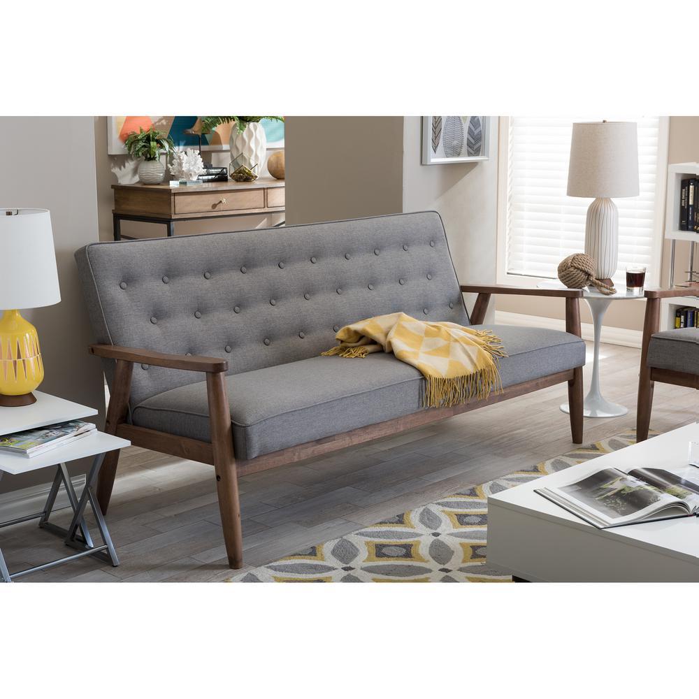 Sectional Sofa Grey Baxton Studio: Baxton Studio Sorrento Mid-Century Gray Fabric Upholstered