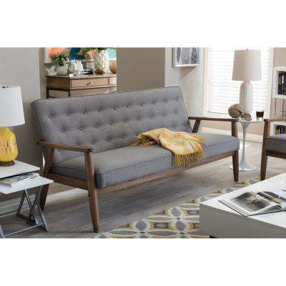 Sorrento Mid-Century Gray Fabric Upholstered Sofa