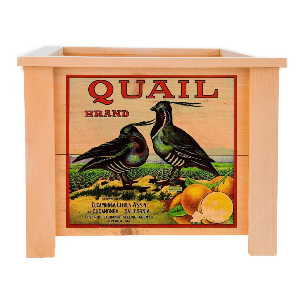 15 in. x 15 in. Deluxe Cedar Planter Box with Quail Art-QA-1515CPB Planters Exchange on