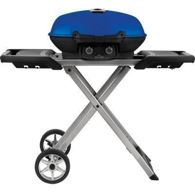TravelQ 285X Portable Propane Gas Grill with Scissor Cart in Blue