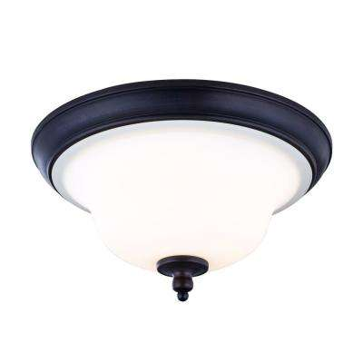 Ethelyn Collection 3-Light Oil-Rubbed Bronze Flush Mount with Frosted Glass Shade