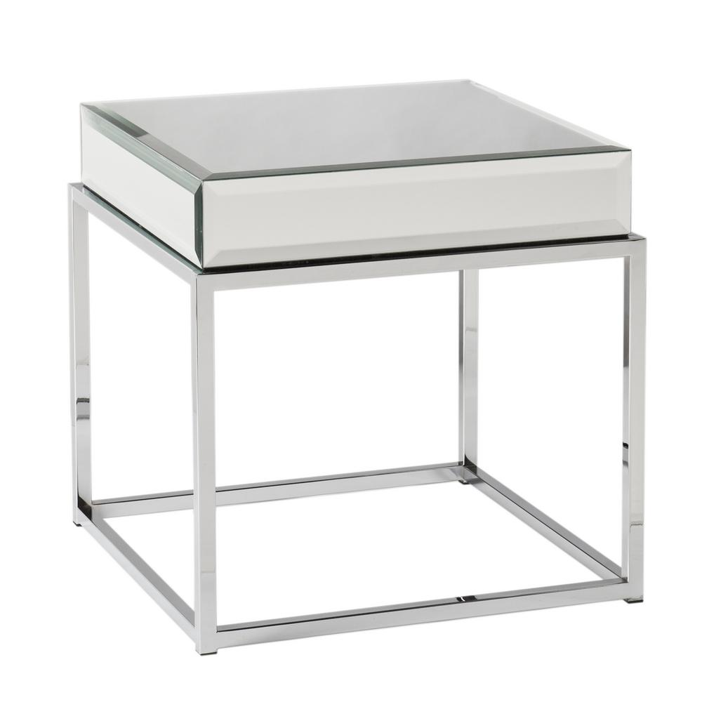 Southern Enterprises Grande Chrome Mirrored Top End Table