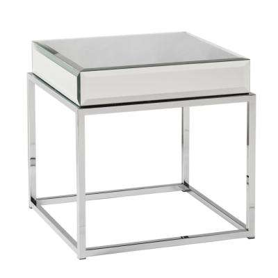 Grande Chrome Mirrored Top End Table