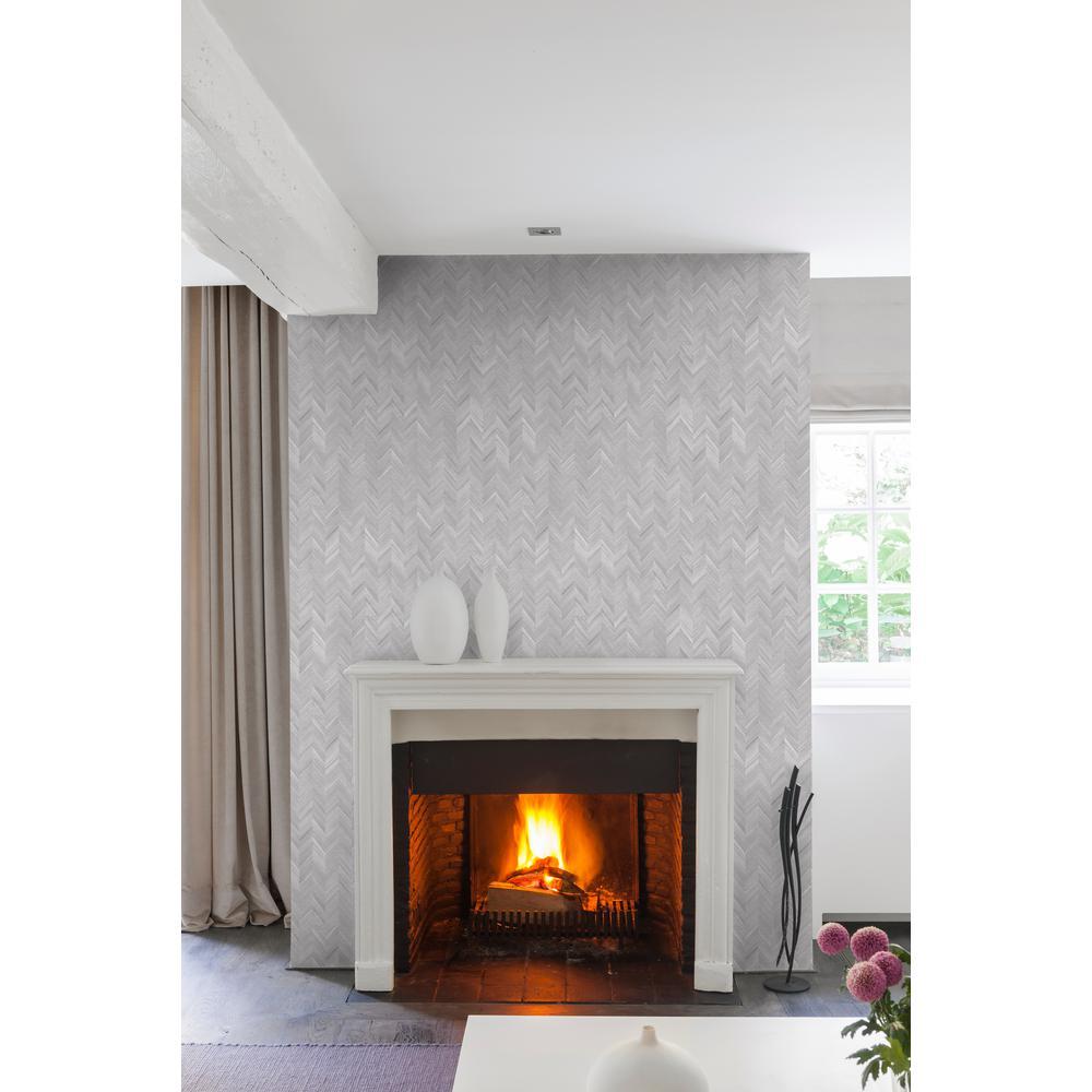 Silver Herringbone Wallpaper
