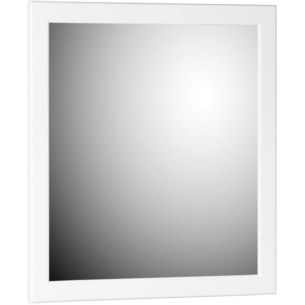 Ultraline 30 in. W x .75 in. D x 32 in. H Framed Wall Mirror in Satin White