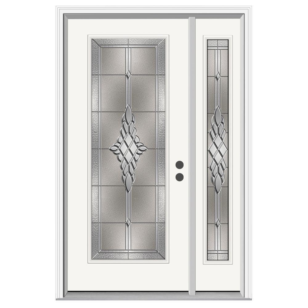 JELD-WEN 50 in. x 80 in. Full Lite Hadley Primed Steel Prehung Left-Hand Inswing Front Door with Right-Hand Sidelite